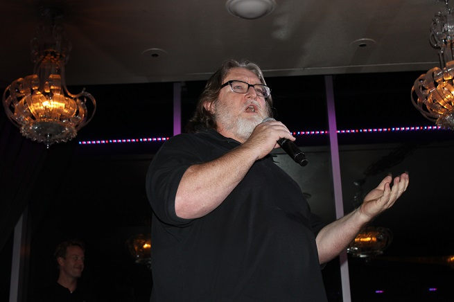 Valve's Gabe Newell announcing Steam Machines at CES in 2014.