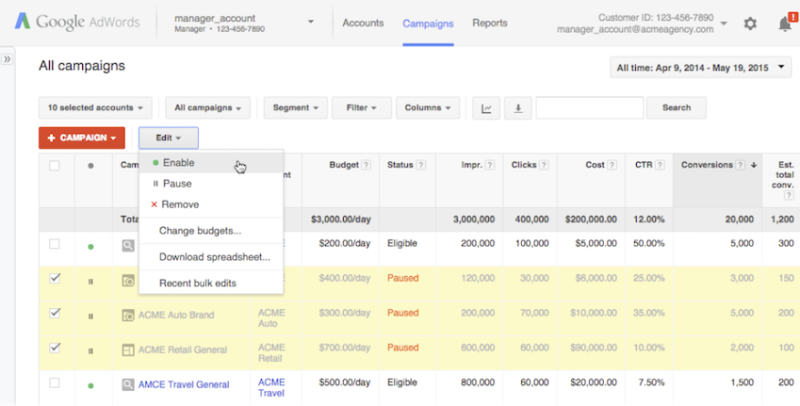 AdWords manager account