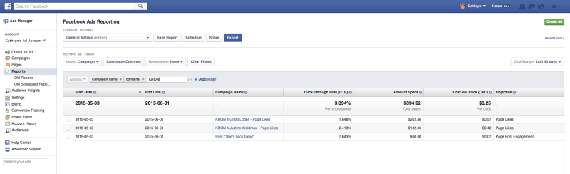 Facebook Ads Manager -- the old version.