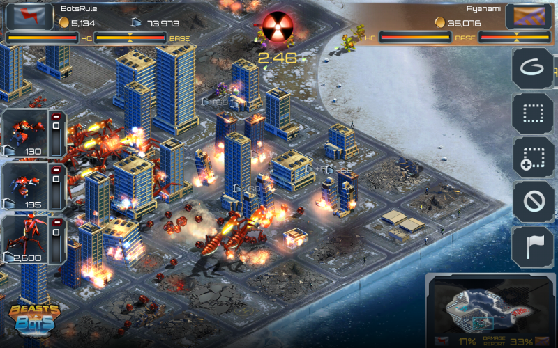In Beasts vs. Bots, both sides bring down the skyscrapers.