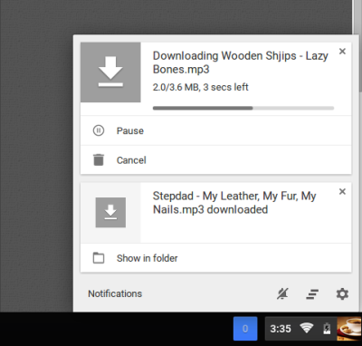 Google redesigns downloads as notification center cards in Chrome OS