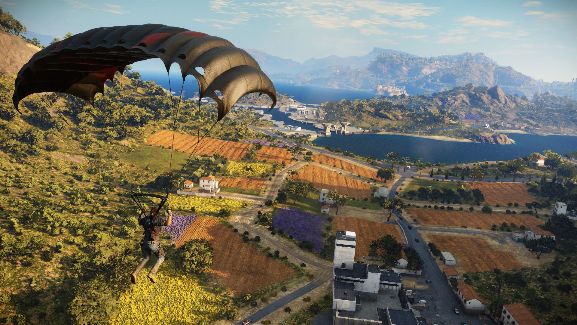 You chute into the action in Just Cause 3.