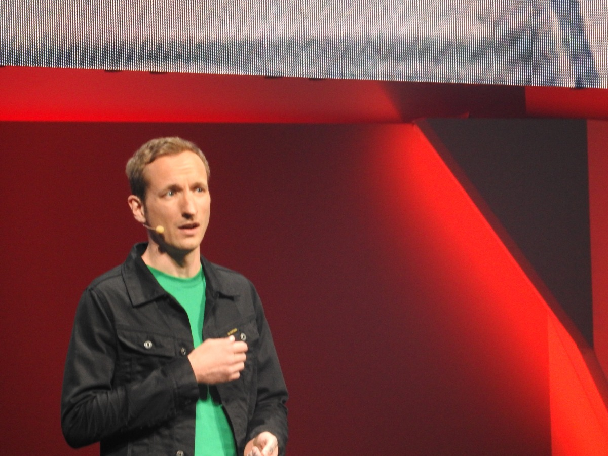 Martin Sahlin, head of Coldwood Interactive, seemed shy while talking about Unravel at EA's press briefing at E3 2015.