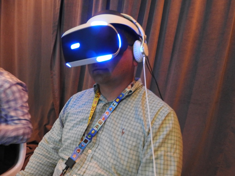 Dean Takahashi with the Sony Morpheus VR headset.