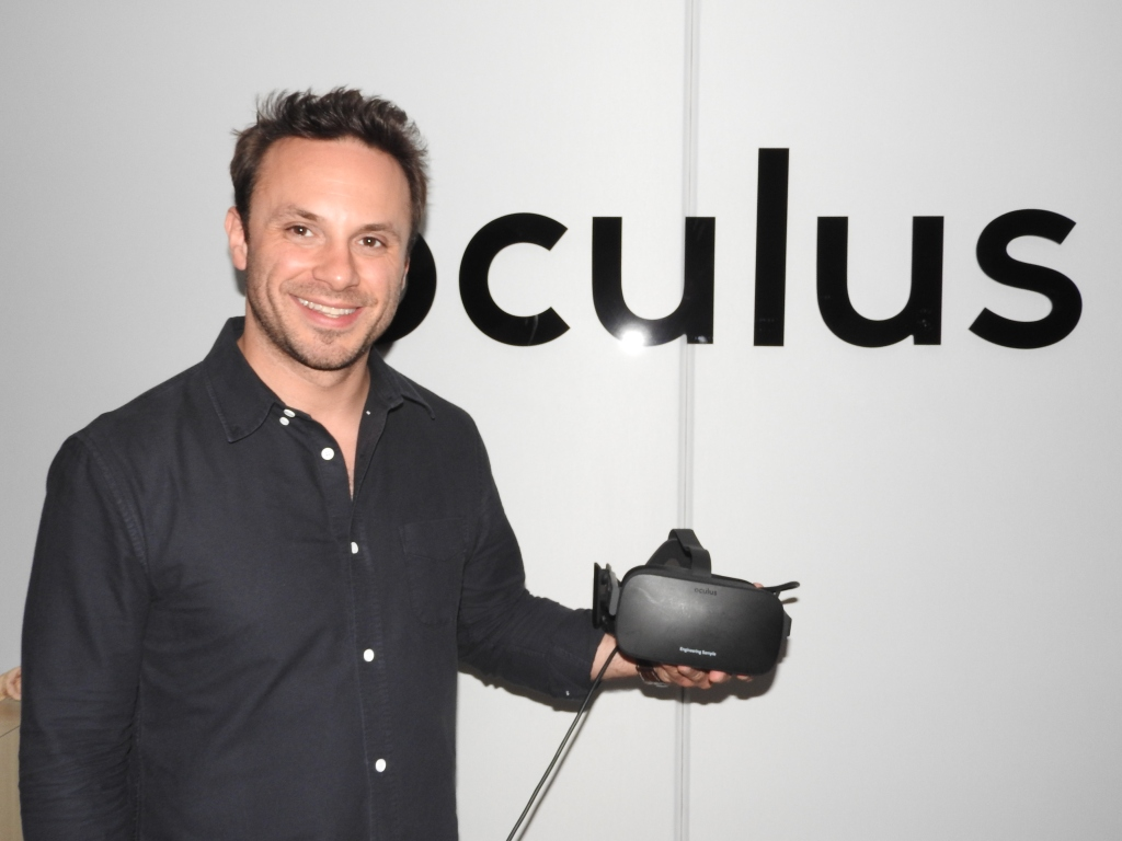 Brendan Iribe showing off the Oculus Rift at E3 2015.