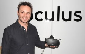 Brendan Iribe showing off the Oculus Rift at E3 2015.