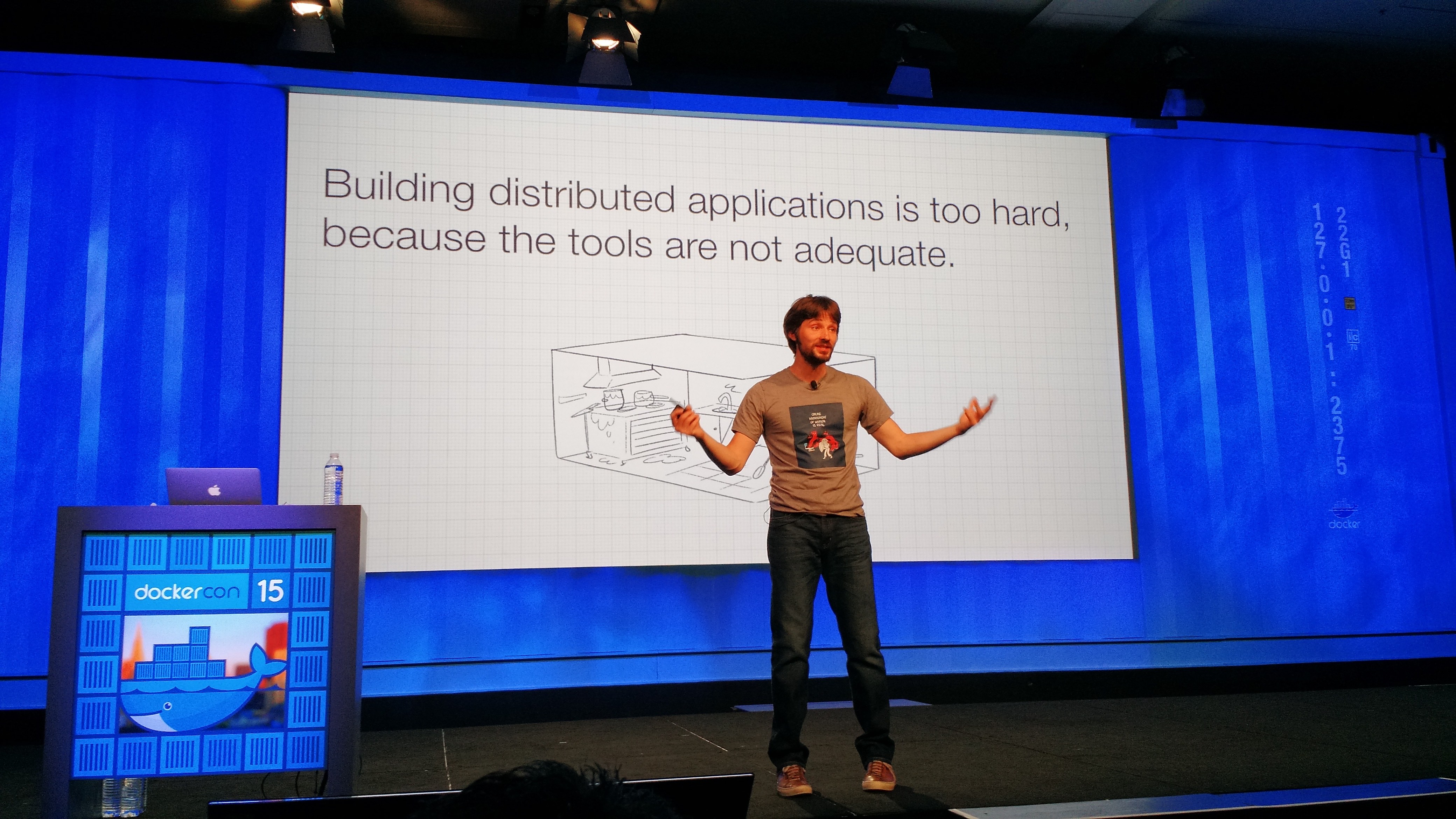 Docker cofounder and chief technology officer Solomon Hykes speaks at the DockerCon conference in San Francisco on June 22.