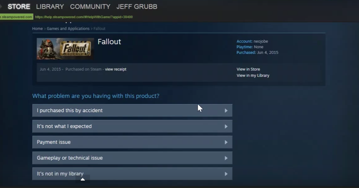 The process for getting a refund on Steam takes about 60 seconds