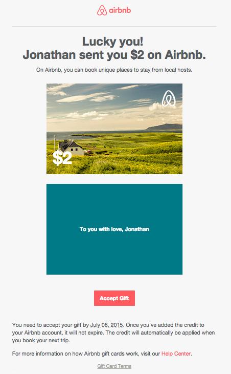 An Airbnb Gift Card.