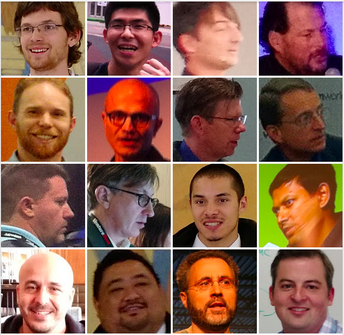 Faces Google Photos pulled out of my photos.