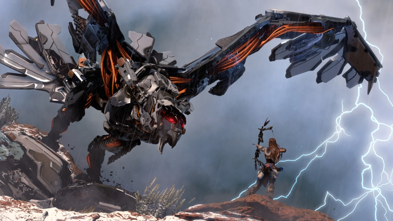 Aloy takes on a big mechanical dinosaur in Horizon: Zero Dawn.