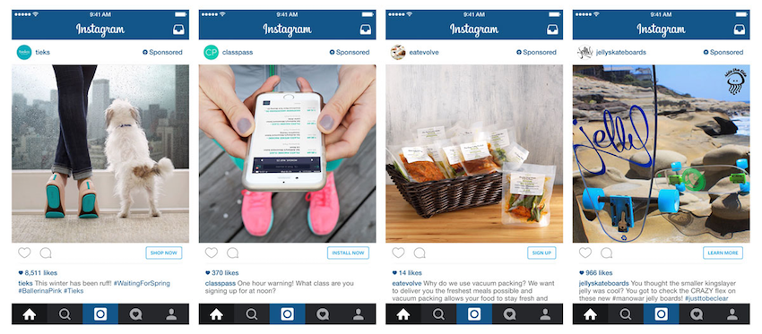 Instagram ads with actionable buttons
