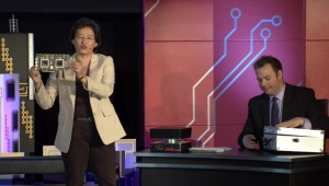 AMD CEO Lisa Su shows off the company's latest graphics card, which has 16 teraflops and dual graphic processors, during the PC Gaming Show at E3 2015.