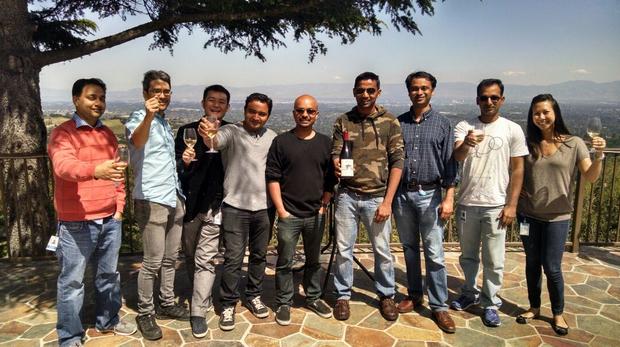 The Pinot team, from left: Mayank Shrivastava, Jean Francois Im, Xiang Fu, Dhaval Patel, Shirshanka Das, Praveen Neppalli Naga, Kapil Surlaker, Kishore Gopalakrishna, and Tiffany Trinh Louer.