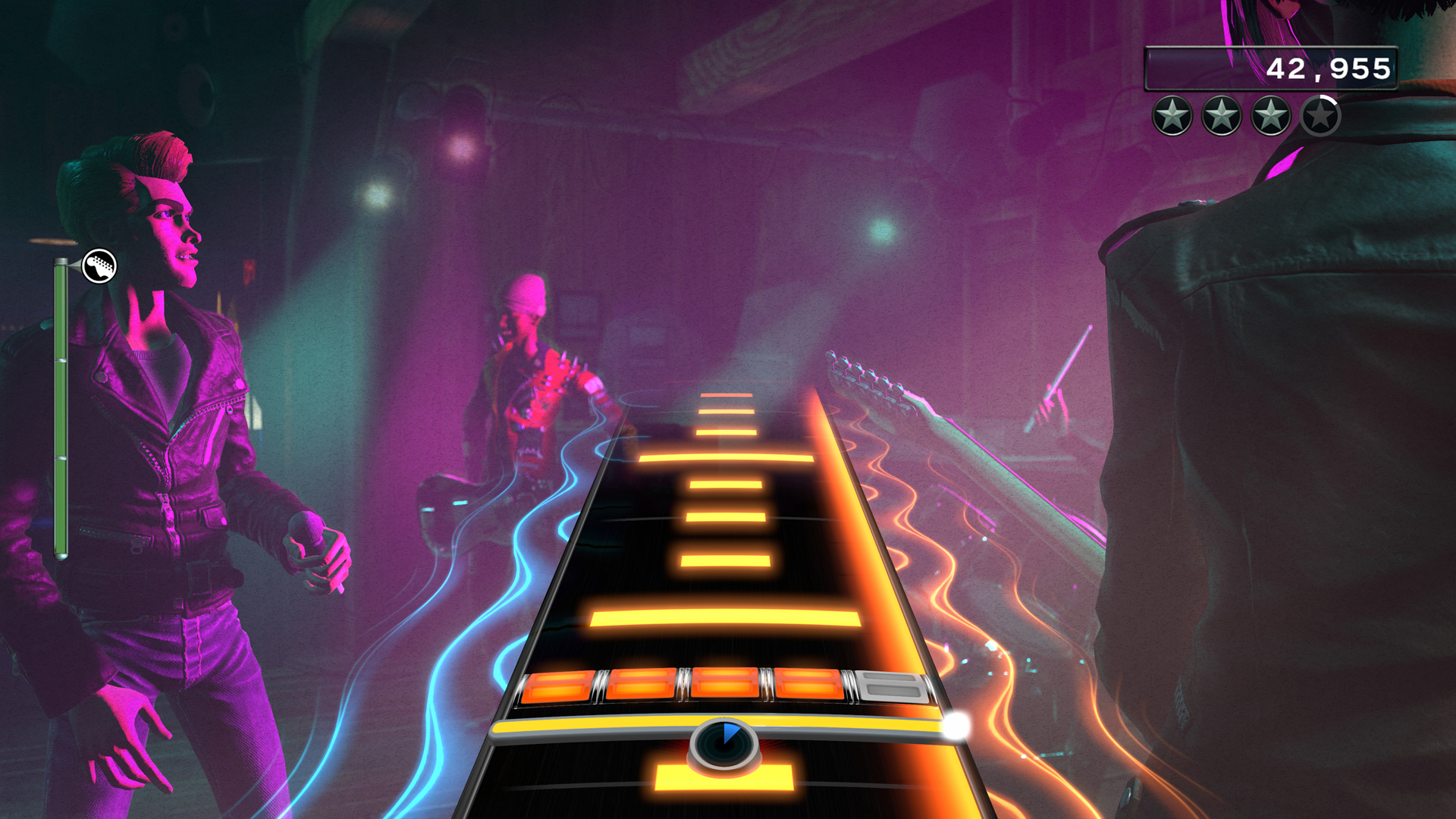 The bars on the track are suggestions for strumming during solos in Rock Band 4.