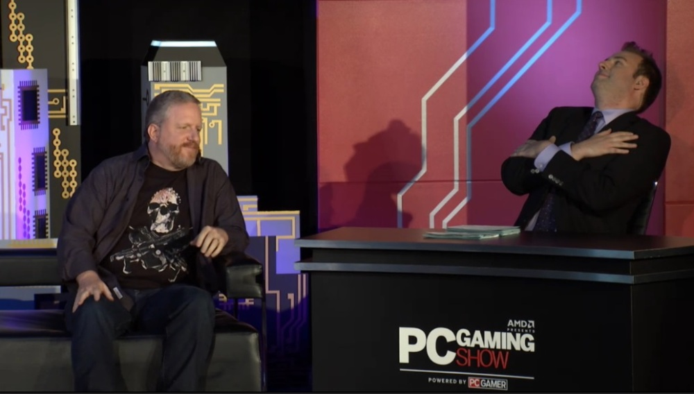 The Coalition studio head Rod Fergusson announces the Gears of War Ultimate Edition for PC at the PC Gaming Show during E3 2015.