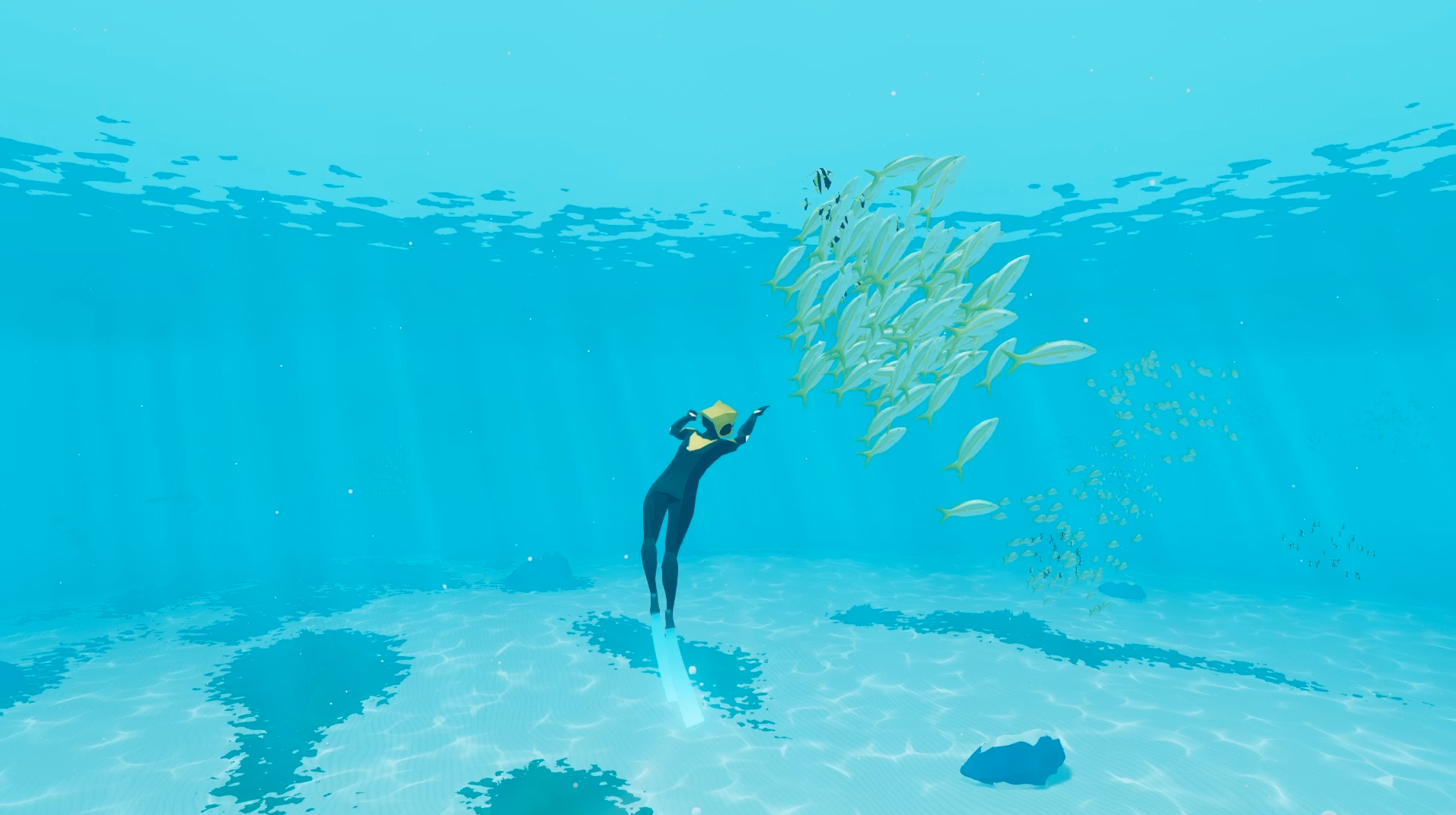 Fish and other creatures will interact with the diver.