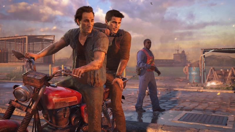 Uncharted 4's Sam and Nathan Drake.