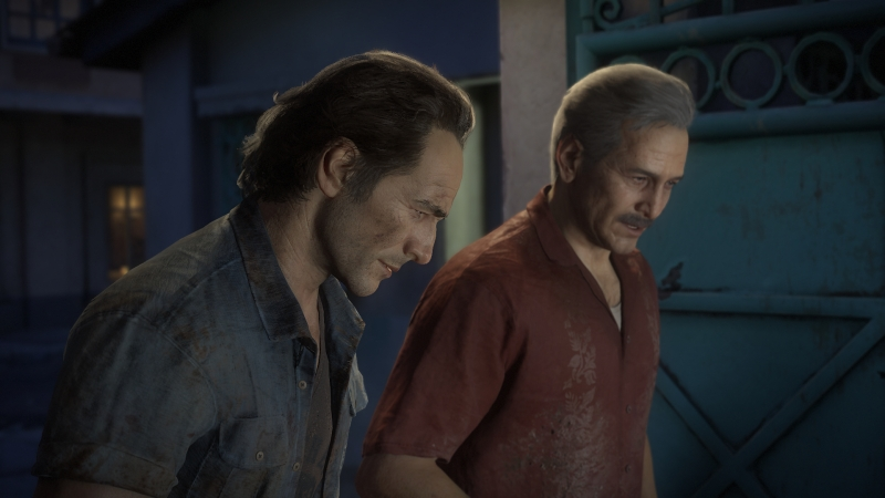 Nathan's brother Sam and Sully in Uncharted 4.