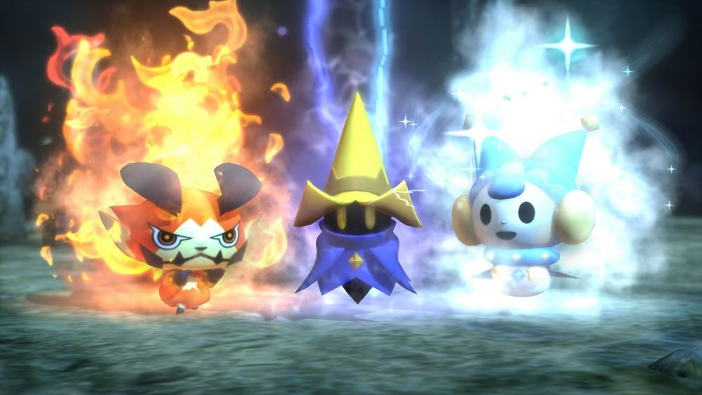 A mage and friends show off some of World of Final Fantasy's magic.