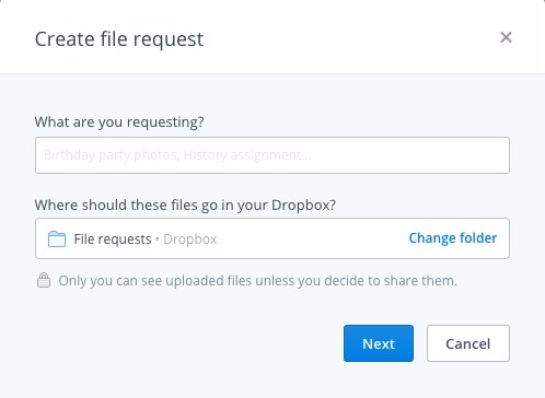 Dropbox now lets you request files from multiple people with