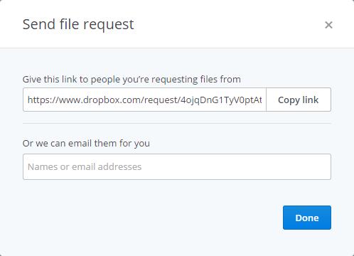 Dropbox send download link