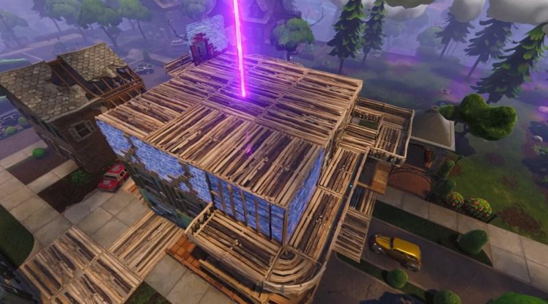 A huge fort in Fortnite.