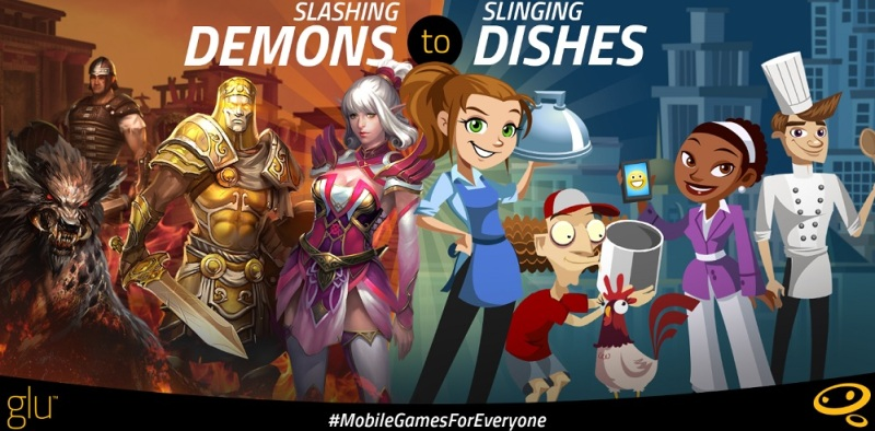Glu Mobile games range from hardcore role-playing games to Diner Dash.