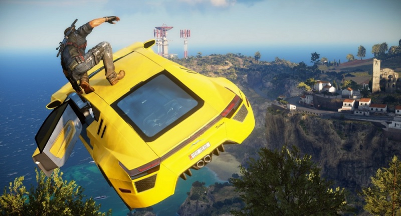You can parachute from a car after you drive it off a cliff in Just Cause 3.