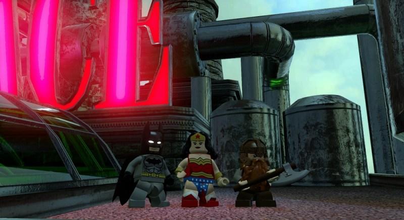 Batman, Wonder Woman, and Gimli in Lego Dimensions.