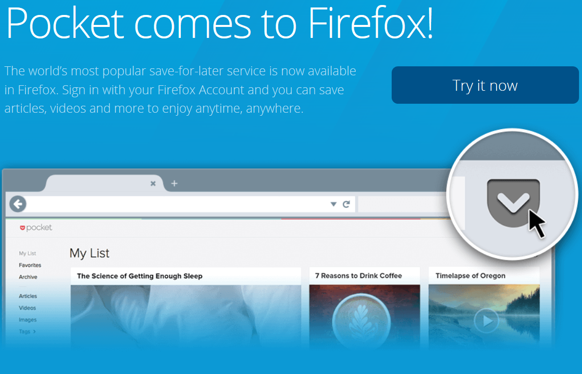 Mozilla has 'no plans' to offer Firefox without Pocket