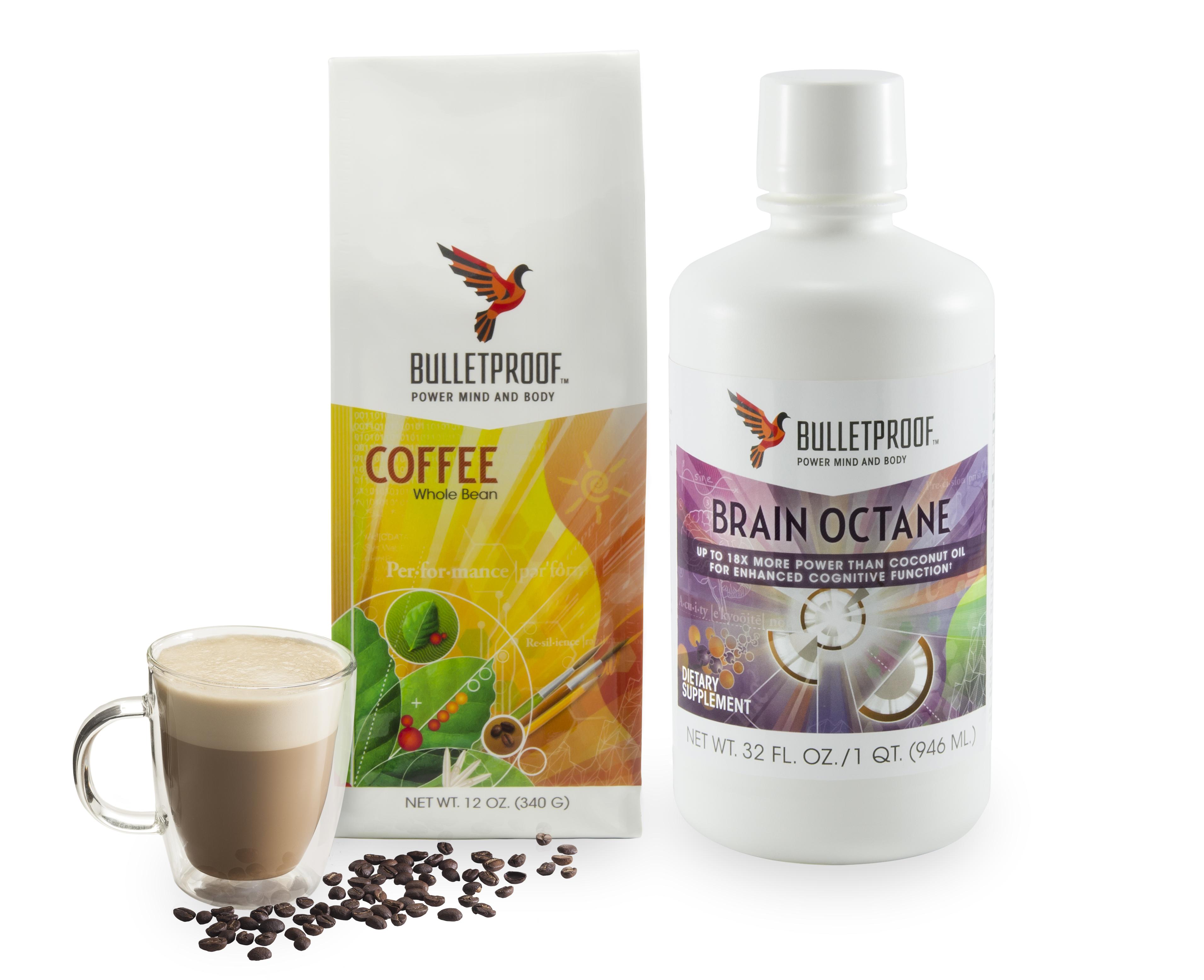 Bulletproof coffee with Bulletproof beans and Bulletproof's Brain Octane oil.