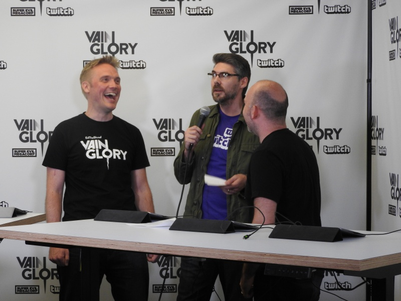 Kristian Segerstrale (left) of Super Evil Megacorp with Twitch's Marcus Graham and Bo Daly of Super Evil.