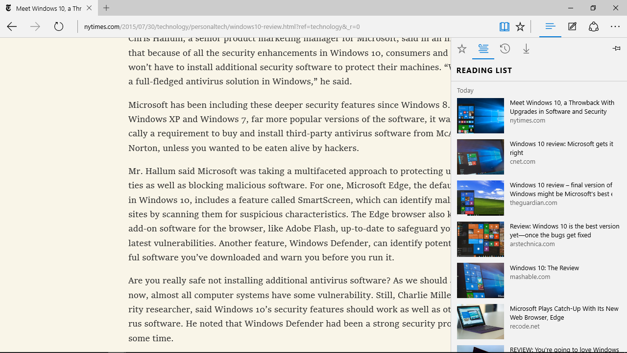 The Reading List in Microsoft Edge, at right.