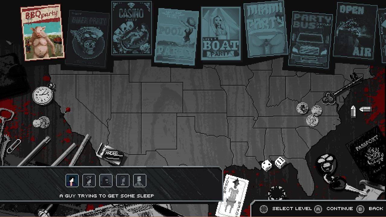 Party Hard features multiple characters to play across a variety of levels.