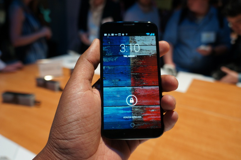The Google-designed Moto X smartphone at the device's 2013 launch event.