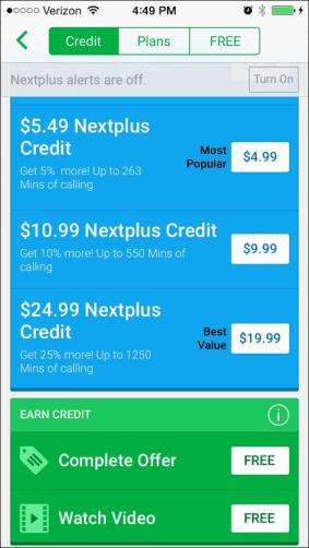 Nextplus iOS RV Screenshot_1