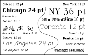 Mac fonts designed c. 1983-1984 by Susan Kare