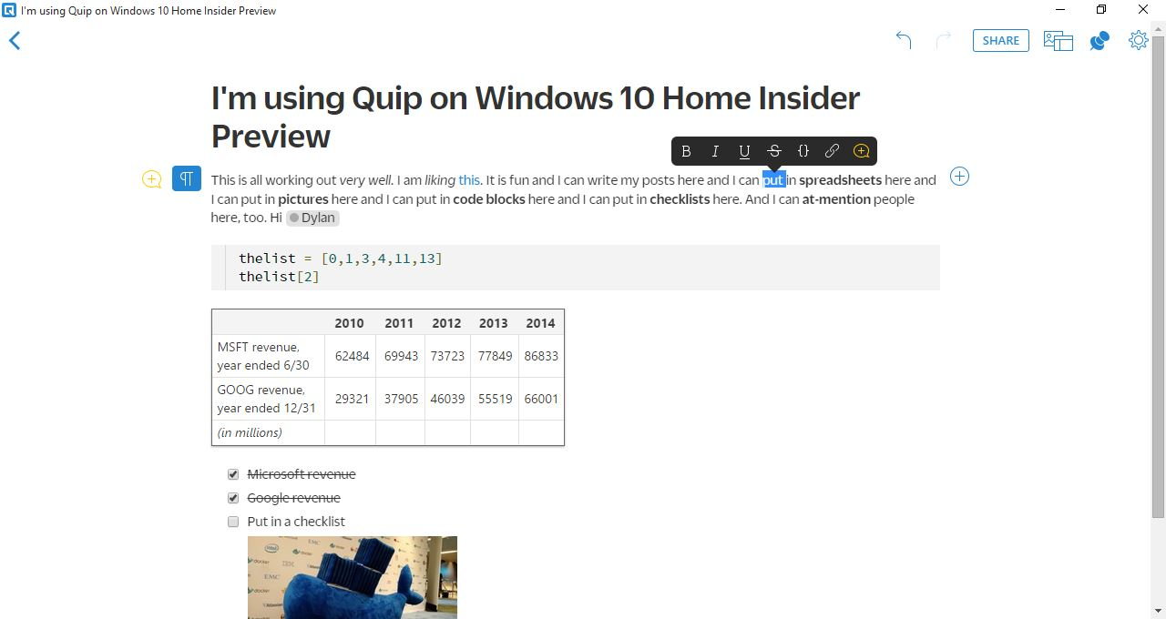 Quip on desktop on Windows 10.