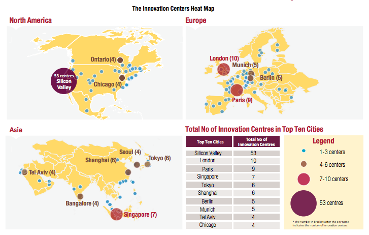 Heat map identifying where the most corporations established innovation centers.