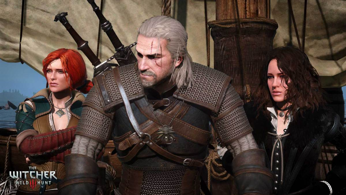 Geralt with Triss and Yennefer.