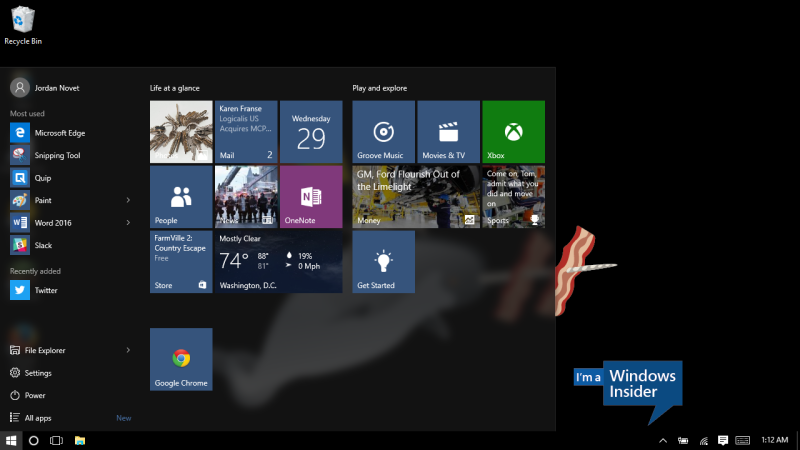 The Start menu on Windows 10.