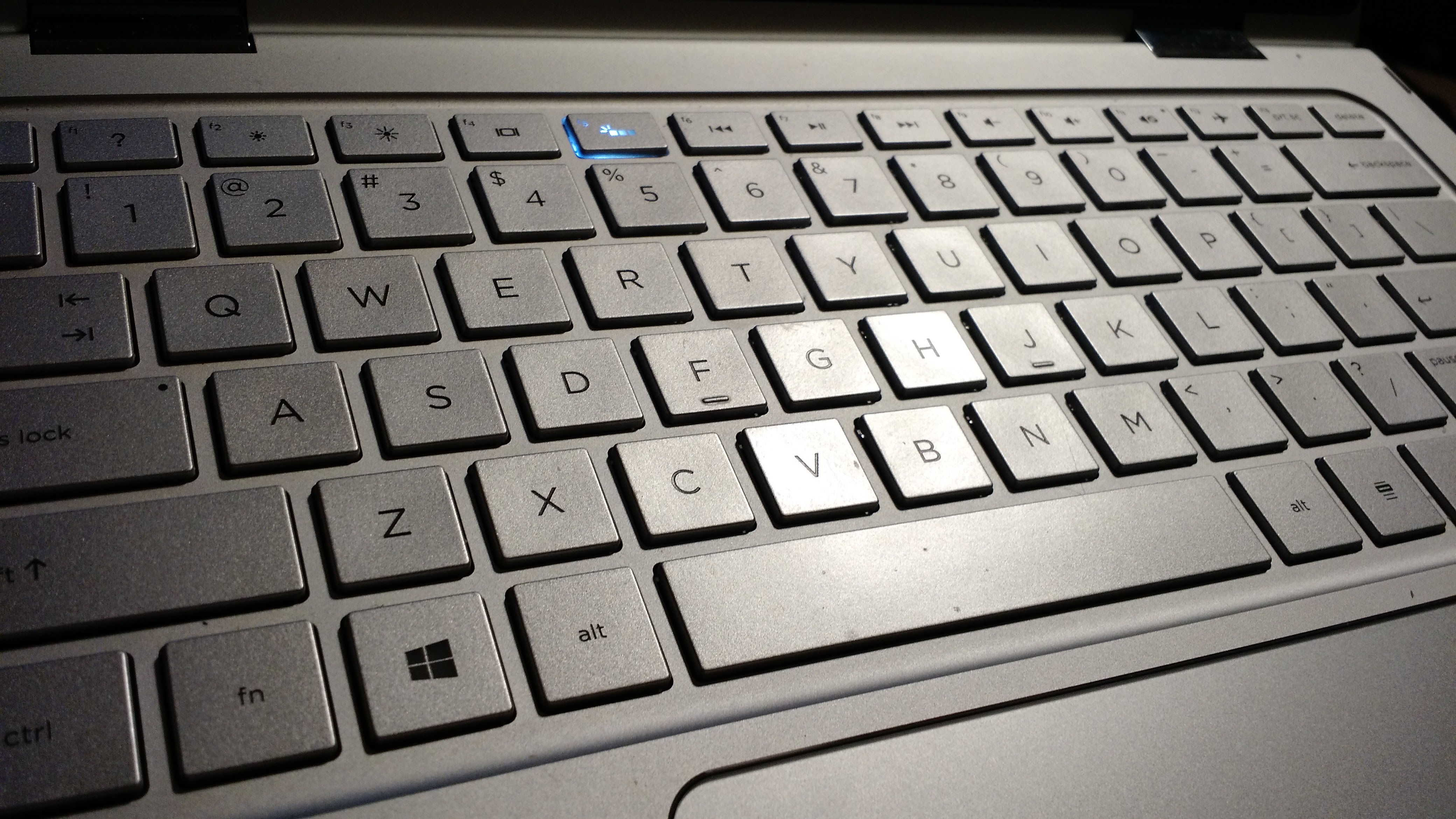 The keyboard on the HP Spectre x360.