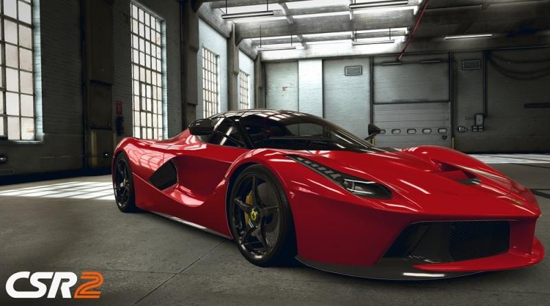 Ferrari in a garage in CSR2.