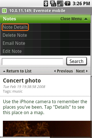 Screenshot of Evernote for BlackBerry v1.0
