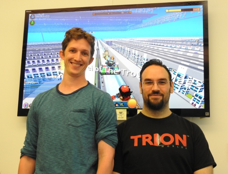 "Andrew ""Avarem""  Krausnick (left), game director of Trove, and Adam Hetenyi, lead developer, at Trion Worlds"