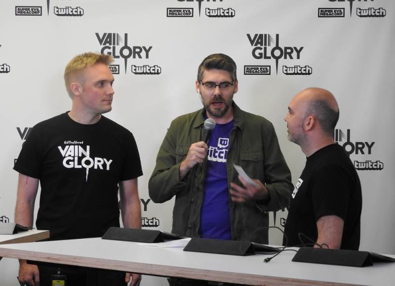 Vainglory creators at Twitch. Kristian Segerstrale (left) and Bo Daly (right) of Super Evil Megacorp talk with Marcus Graham of Twitch.
