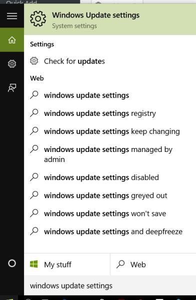 windows update settings start menu