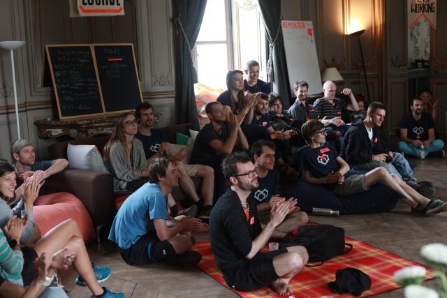 POC21 project teams gather inside Château de Millemont.