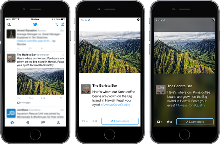 The Twitter Audience Platform automatically transforms your Promoted Tweets into in-app ad formats